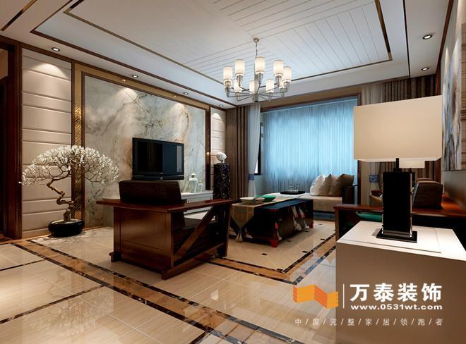 济南龙腾国际186平新中式风格室内装修设计案例