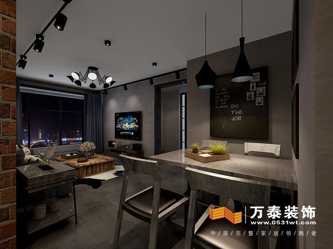 济南阳光100现代工业风116平家庭装修设计案例