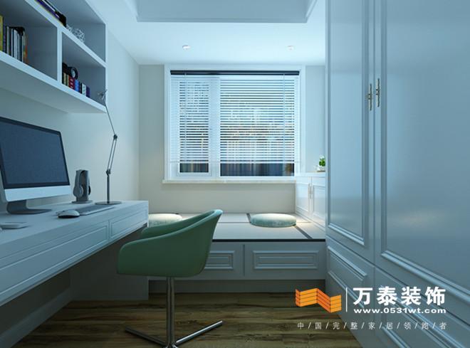 墙面的造型使卧室的空间更加精致,色彩搭配让整个卧室充满了寂静与安宁,浪漫温馨,使人心情祥和。 次卧室:  榻榻米+书桌+书柜+衣柜的形式,是次卧室这个多功能空间的功能发挥的淋漓尽致。 平面设计图:餐厅与客厅区域通过斗柜的形式划分明确,但是原始客餐厅空间偏小,客厅影视墙比较短,通过隔断的形式延伸了整个影视墙的墙面,同时增大了整个客餐厅的面积。次卧室的书房+书柜米的组合,解决了整个空间收纳不足的问题。  明湖太学苑的案例欣赏完了,是不是您喜欢的装修风格和空间划分呢?来万泰装饰,设计大咖为您量身定制! 预约电