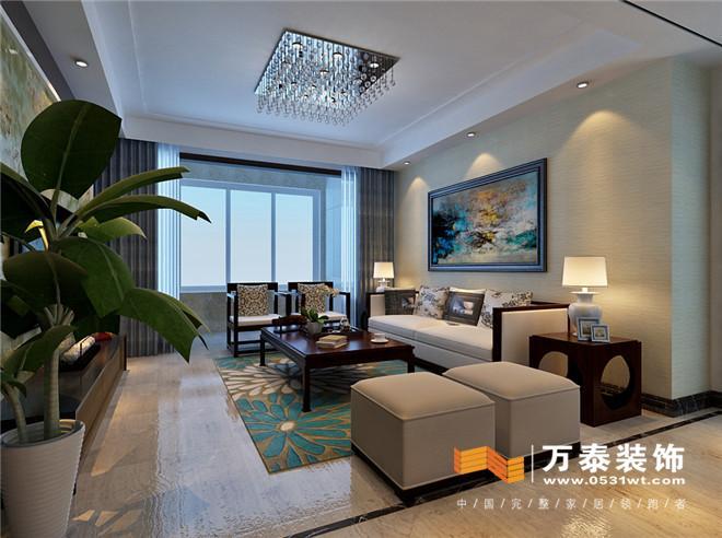 灯饰,地毯,配饰) 设计说明:此案是典型的新中式风格,用石材做影视墙