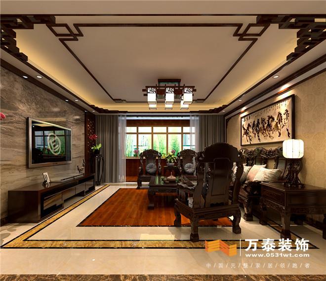 造型左右对称,吊顶的实木线条和墙面线条以及地面串边相互呼应,厚重