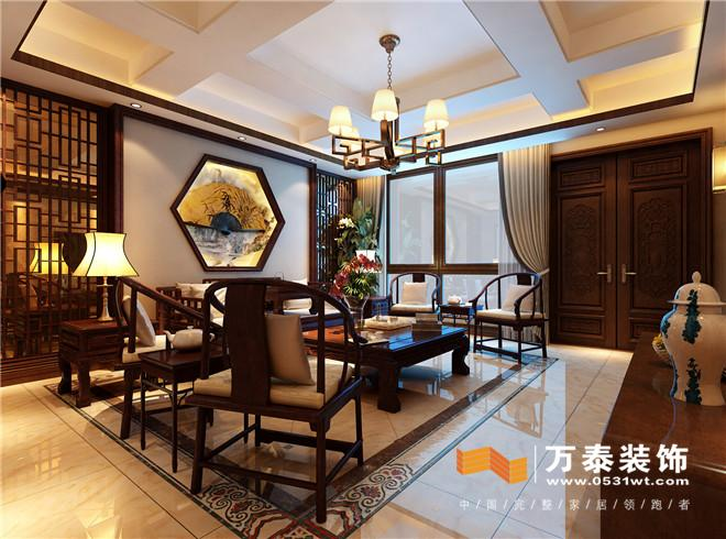 济南玉函路单位宿舍186平新中式风格装修设计案例