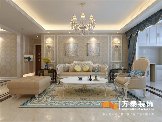 客厅: 客厅影视墙白色混油线条配合灯带,瓷砖上墙,效果突出,整体大