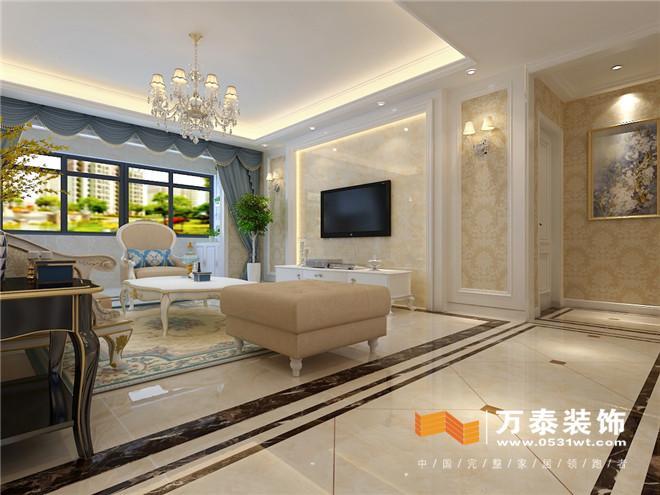 济南华山珑城131平简约欧式风格装修设计案例