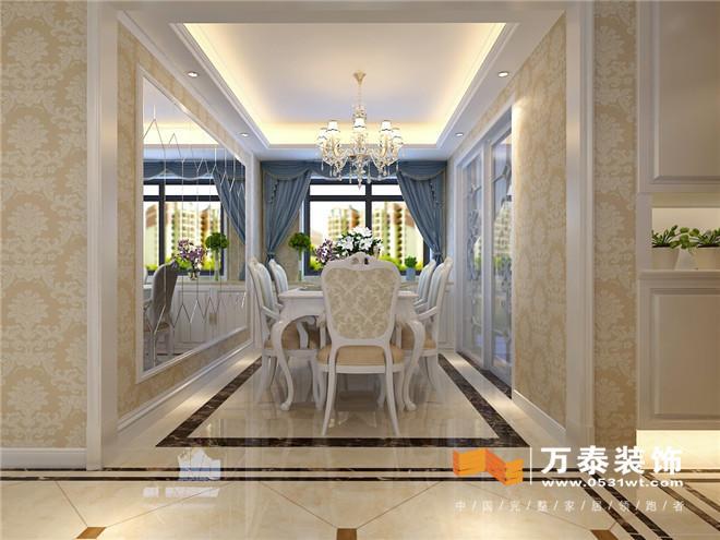 客厅影视墙白色混油线条配合灯带,瓷砖上墙,效果突出,整体大气.