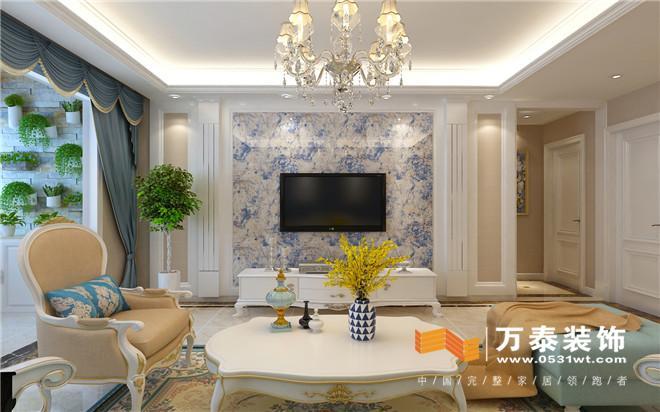 济南华山珑城131平简约欧式风格装修设计案例_新房