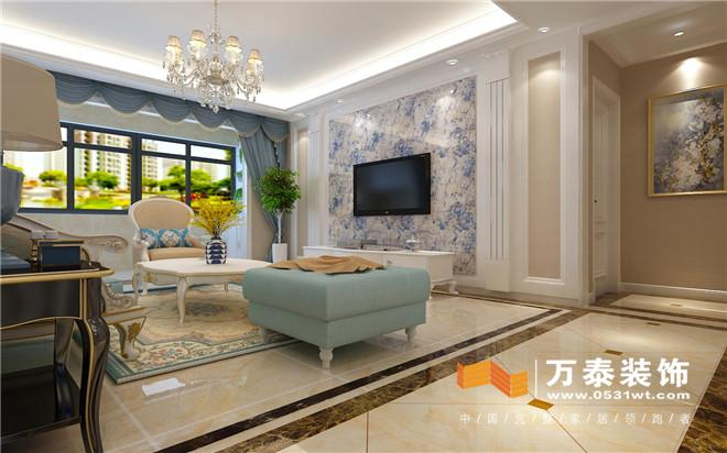 客厅影视墙白色混油工艺罗马柱对称造型,中间大理石石材造型,高端大气