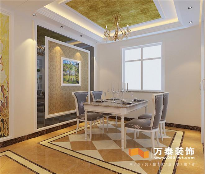 客厅:  几何线条修饰,色彩明快跳跃,外立面简洁流畅,以波浪、架廊式挑板或装饰线、带、块等异型屋顶为特征,立面立体层次感较强,合理运用色块色带处理。加上些欧式石膏线的元素,简约欧式的味道就出来了。 客厅:  影视墙打破常规的简单处理,用混油套线与镜面花格结合,加上瓷砖,承托出不一样的效果。直线吊顶加上欧式石膏线,欧式吊灯,看到的是客厅整体效果。 客厅:  混油套线、精致的马赛克拼花造型,整个玄关自然而然就流露出一种不一样的调子。 走廊:  餐厅:  现代简约风格非常讲究材料的质地和室内空间的通透哲学。一般