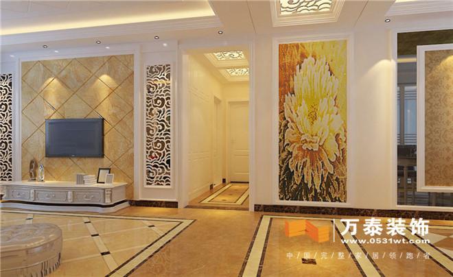 直线吊顶加上欧式石膏线,欧式吊灯,看到的是客厅整体效果.