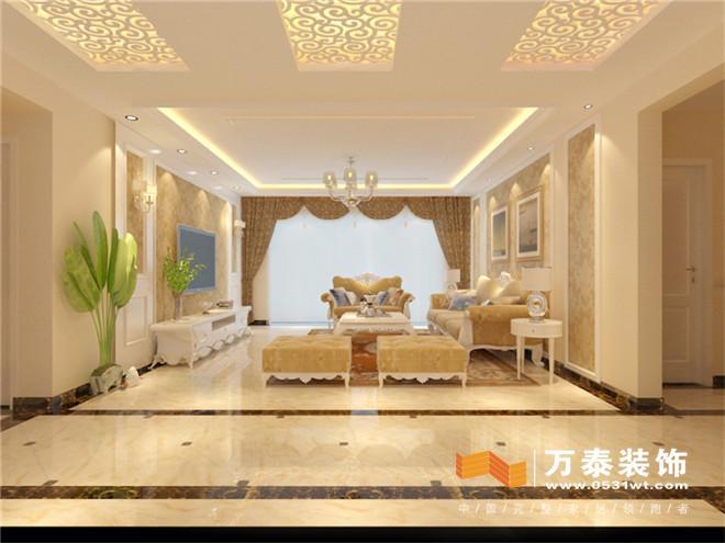 影视墙运用石膏线条装饰和硬包结合凸显欧式的对称美感,也更加生动