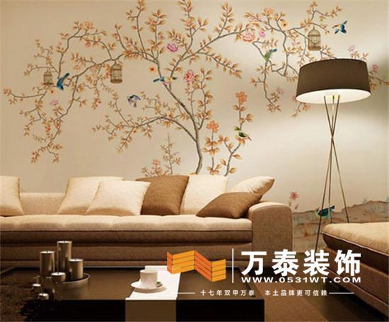 2.电视墙:墙绘在电视墙的应用是当前的潮流走向,设计师一般会在绘画前根据房间的整体风格和色调、电视柜的尺寸、电视机的样式来选择墙绘的尺寸、图案、颜色及造型。手绘作品的每一笔、每一个色彩都是有个性的。中式风格的客厅电视墙墙绘可以采用时下很流行的中国画写意手法来实现,结合中国画的写意特质和传统墙绘的装饰性,比之传统的镶框国画气势上更磅礴大气,更容易与室内的环境进行融合,让中式的装修格调显得更高雅。