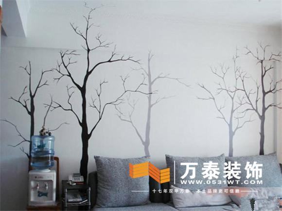 彩铅效果的手绘背景墙看起来比较甜美温馨,没有进行整体地设计布局
