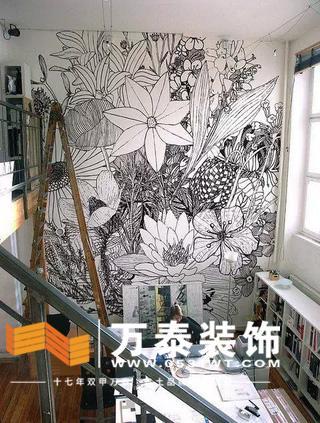 济南软装装饰:手绘壁纸,也有duang的特效!