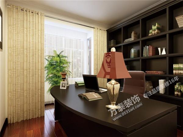 三居室书房窗帘装修效果图 中式古典 121平米四居室装修设