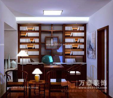 2013书房装修设计图:书桌的造型非常个性,桌面大而宽敞-济南软装