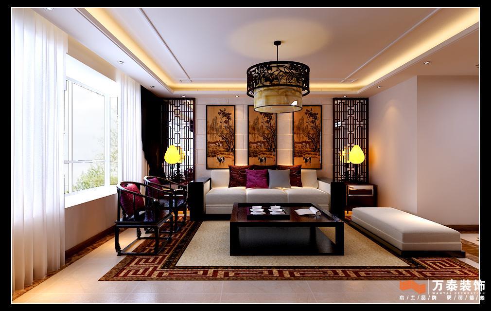 新中式简约客厅电视背景墙 装修效果 图   简约中式家装酒
