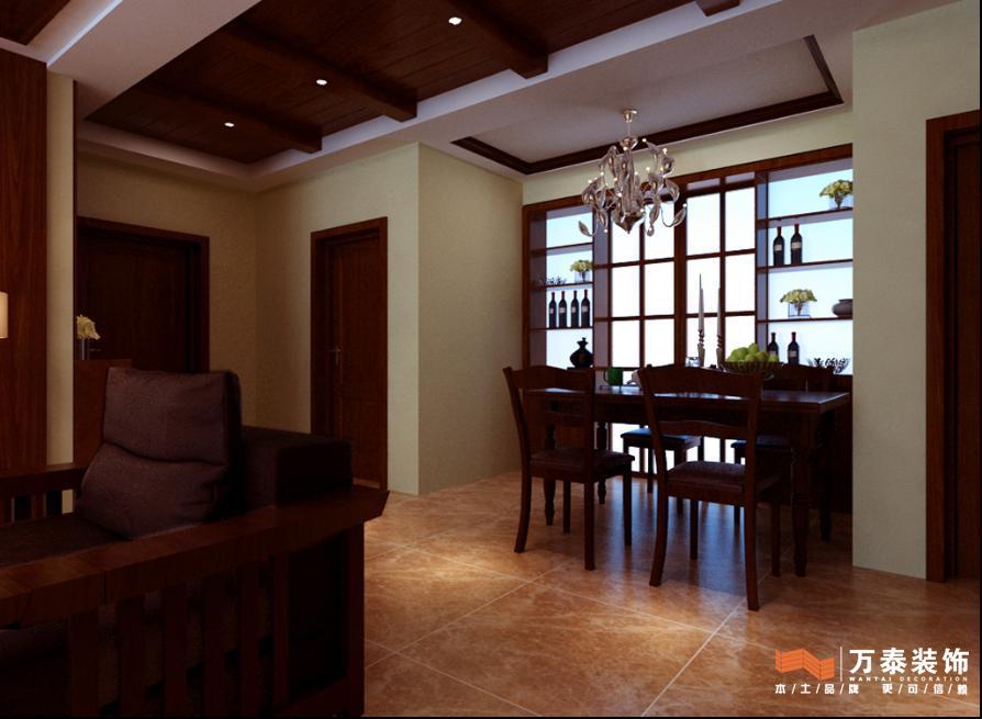 客餐厅的整体效果图-绿地卢浮公馆三居室装修效果图欣赏 135平 乡村