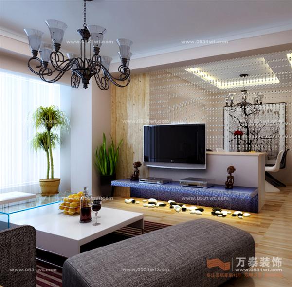华丽样式的客厅中,搭配一个简约时尚的客厅影视墙效果图,能缓解一下