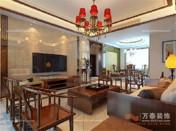 泉景天沅装修设计 190平 三室两厅一厨一卫 古典中式装修效果图高清图片