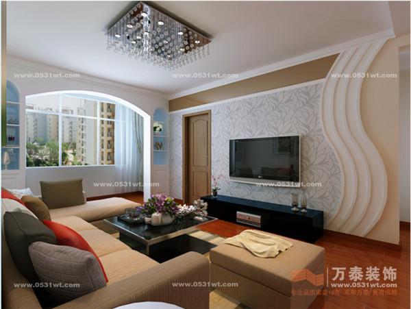 晓现代简约装修效果图 105平方 两室两厅一卫一厨