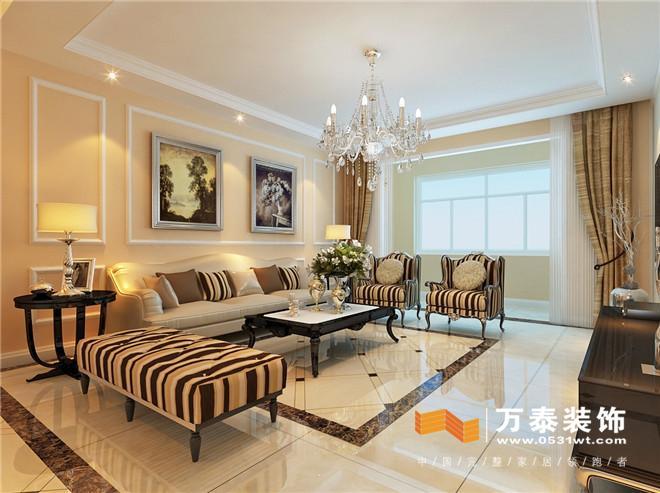 客厅影视墙:作为突出效果的影视墙,采用了欧式线框,材质用了华丽的图片