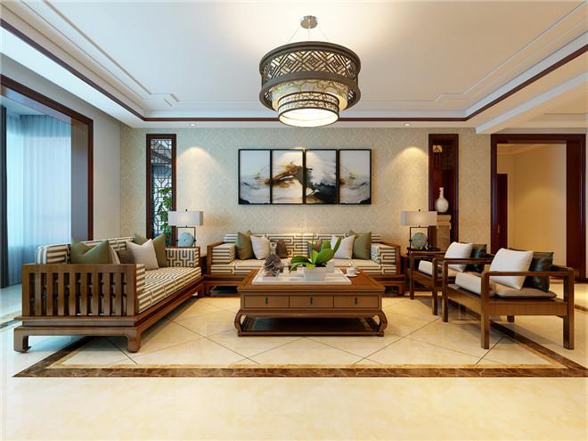 简约中式风格家庭装修设计案例|济南天澍花园160平家庭装修设计案例