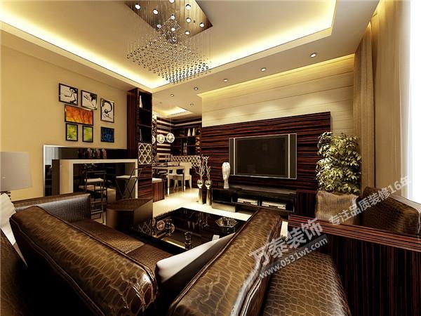 现代简约风格装修效果图欣赏120平 三室两厅
