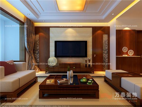客厅是主人品味的象征,体现了主人品格,地位,也是交友娱乐的场合。电视背景墙采用深色的饰面板做的几何造型,既简单又大方。再加上一些中式的元素,中间就贴米黄色的瓷砖,配上顶部照下来的灯光,整个电视背景墙把客厅提升起来。沙发背景墙挂上一幅油画营造一种艺术氛围。地板则采用玉石瓷砖,既大气又容易清洗。选择米白色布艺沙发,与玉石砖相呼应。餐厅是家居生活的心脏,不仅要美观,更重要的实用性,整体性。餐厅的灯光很重要既不能太强又不能太弱,灯光则以温馨和暖的黄色为基调,顶部做了简单的吊顶。