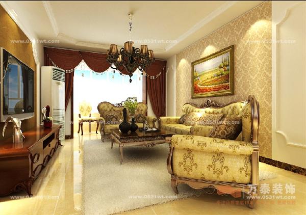 济南中建文化城装修效果图 三室两厅一厨两卫 简欧风格