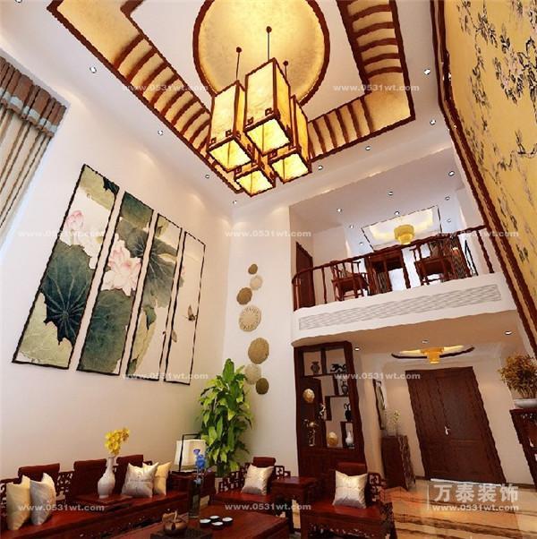 设计说明:中国风的构成主要体现在传统家具装饰品及黑,红为主的装饰