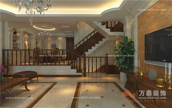 客厅影视墙大理石石材背景突破以往欧式沉稳的色彩,色调统一且色彩