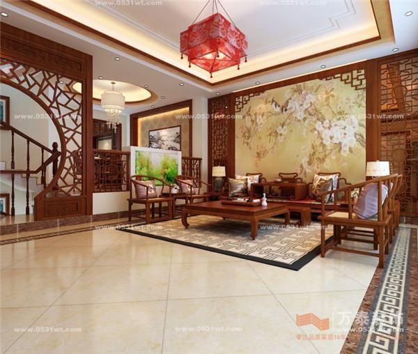 整体空间以中式元素为主,局部搭配一些简约风格的装饰,让空间呈现出典雅大气的韵味。推门而入,入眼即是质朴的红木木雕屏风垭口,主要是掩盖楼梯踏步的凌乱。从而形成了一个充满中国文化气息的完美视觉屏障。二层书房和休闲区连贯的设计使原来不是很大的书房空间从视觉上得以延展,通过中式元素造型垭口的设计从而又形成了一个独立的休闲区,一个小桌,两个草垫,便可轻松品茗,悠然下棋,好不自在!