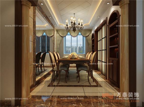 济南装修效果图龙园小区 古典欧式风格装修 159平