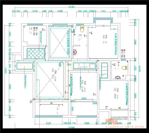 三室两厅一厨两卫 简约中式复古装修效果图 施工图 实景图欣
