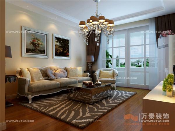 整个设计呈现现代居家的风格,在餐厅的主墙上挂了一副欧式的整体大画,其色系跟整体空间的颜色呈现协调性的搭配,让空间充满了大气的书香气息。客厅采用祥云花格饰面做影视背景墙,配合适合本空间的欧式沙发,让整个空间看起来更为简洁大方,又不失欧式的豪华大气。
