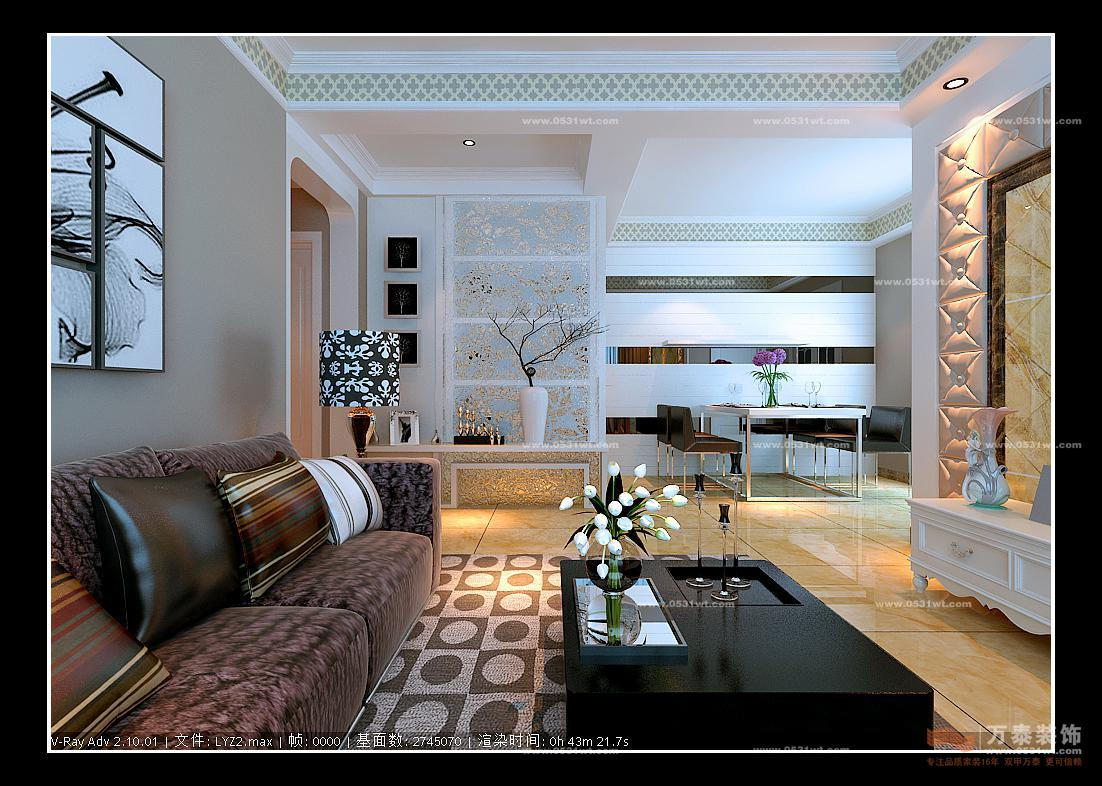 蓝天绿园装饰设计110平 简欧风格装修效果图