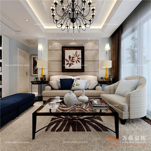 现代美式风格三居室客厅沙发装修图片欣赏