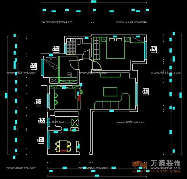 中海国际107 三室两厅一卫小美式风格装修效果图