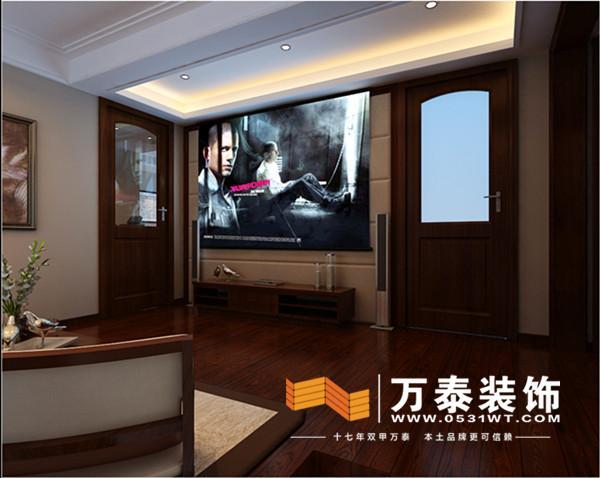 影视墙以深色木作及白色石材的强烈对比来拉开整个空间的序幕,餐厅和