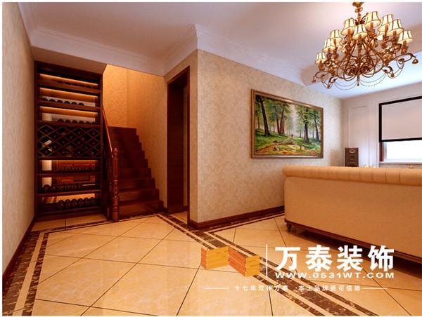 沙发背景墙跟影视墙沿用轴线对称的设计,更显端庄.