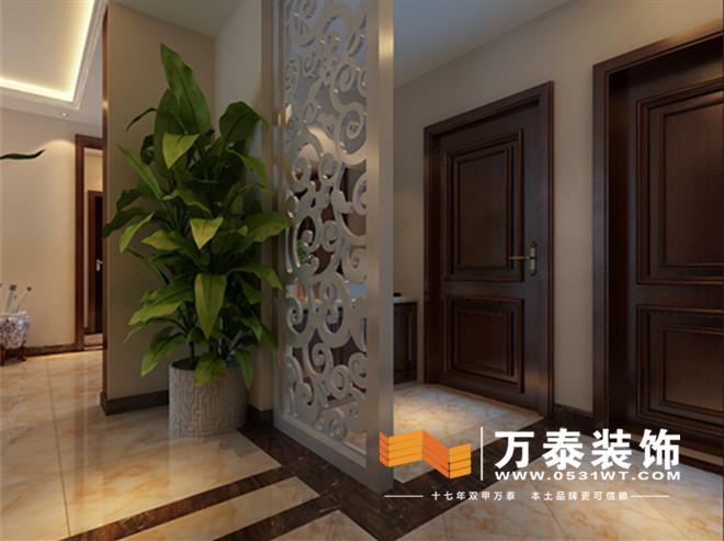 客厅区顶部简洁造型,家具典型新中式风格加之硅藻泥电视墙以及植物