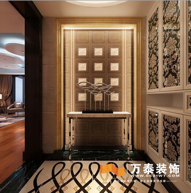 客厅的装修效果图:   用略带奢华皮质餐椅和大理石餐桌做配合  香槟色