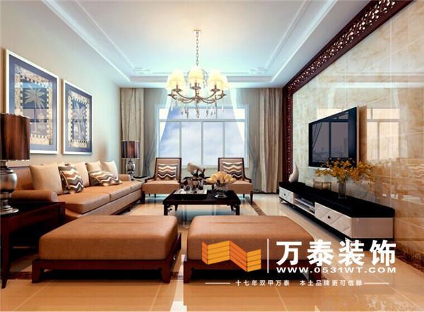 裝修效果圖: 顏色上影視墻用深色是和家具做呼應,增加了瓷磚的質感
