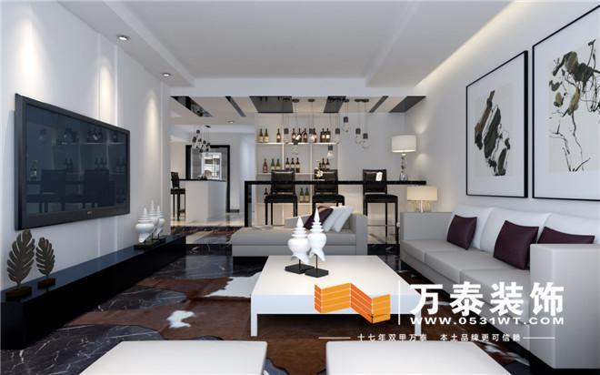 济南中海紫御东郡别墅现代极简风格装修效果图|济南紫