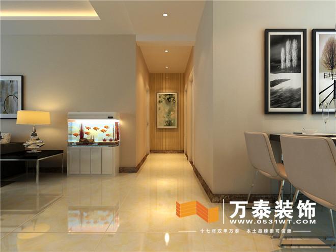客厅影视墙和玄关对景墙的壁纸装饰遥相呼应