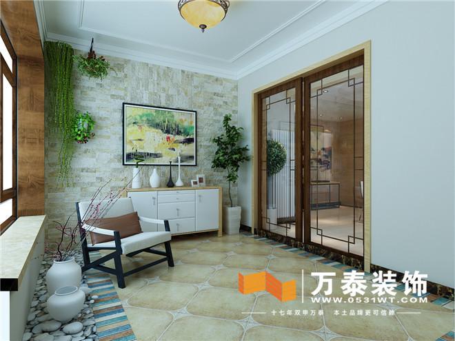 客厅材质统一,颜色过度自然,空间使人温馨舒适。  沙发背景墙利用灰色纹理壁纸作为过度,使得空间通过材质搭配舒适感更强。 阳台的装修效果图:  电梯入户的花园以休闲仿古砖做搭配,自然舒适。 餐厅的装修效果图:  木质墙板把原有入户门进行隐藏,整体感更强。  装饰墙板跟地面理石瓷砖相搭配简洁不失大气。 走廊的装修效果图:  走廊玄关通过造型延展到电视背景墙使空间更有整体感。 平面布置图:  案例欣赏完了,是不是很喜欢呢?马上预约专业的资深设计师吧! 预约电话:400-0203-666 想要了解更多信息,请点