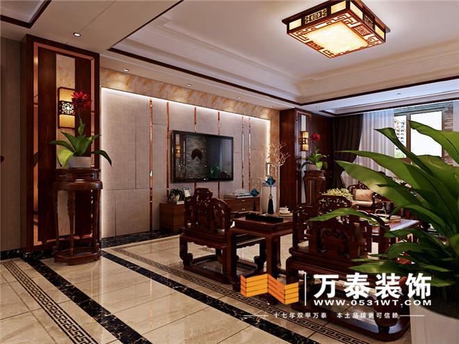 燕山公馆-客厅装修效果图: 影视墙,采用了凹凸造型的硬包,两侧的
