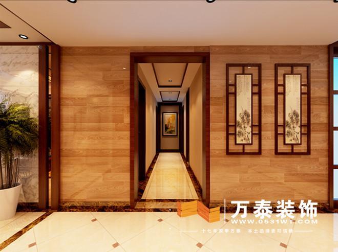通过简单的吊顶和地面造型划分为一个整体,入户对景为整面墙的木地板