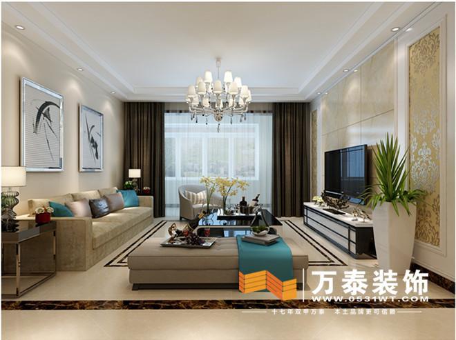 本案位于华润中央公园小区,现代简约。五口之家,更多的是融合在男女主人居家生活的舒适度上,来进行整体方案的完整家居设计。此户型位于12楼,男主人是外地在北京做生意的人,平常只有周六周天回来陪老人和孩子。注重家庭的生活氛围和品质生活。所以从整个色彩格局上来说以暖色系为主,地面的选用瓷砖的菱形铺贴加以窜边,这样对于地热房子来说导热性会好一些也不会显得整个空间的空气流动那么干燥。采用布艺家具凸显出居家生活稳定祥泰的氛围。 华润中央公园-客厅装修效果图:  影视墙采用石材和木质板相结合的做法,石材的加入更会凸显出男