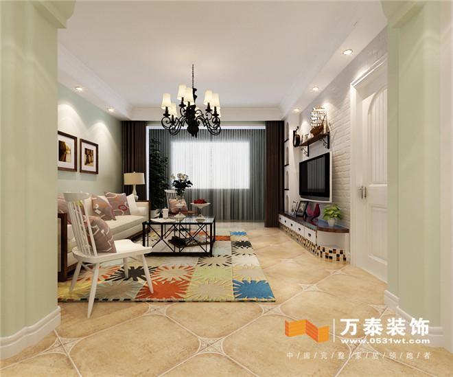 济南奥林逸城小美式风格装修效果图 济南奥林逸城三室两厅小美式风格